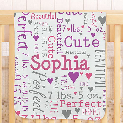 Personalized Baby Word-Art Throw Blanket | Personalized Baby Blankets