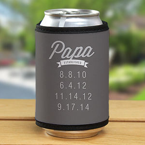 Personalized Dad Established Can Wrap Koozie | Bar Gifts For Dad