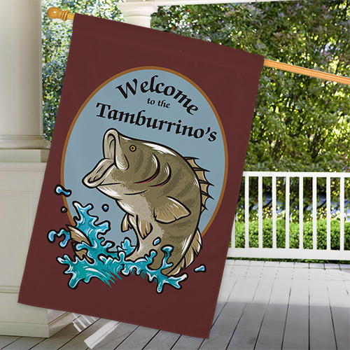 Personalized Bass Fishing Welcome House Flag 83036912L