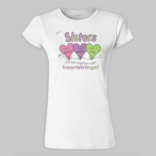 Heart Strings Personalized Ladies' Fitted Sisters T-shirt 91409X