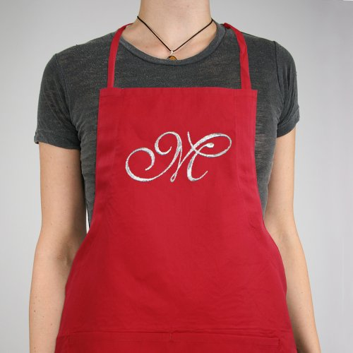 Embroidered Initial Black Kitchen Apron