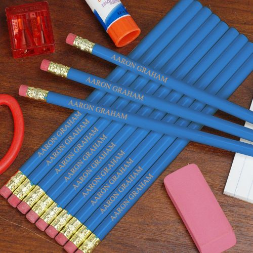 Personalized Blue School Pencils L451913BL