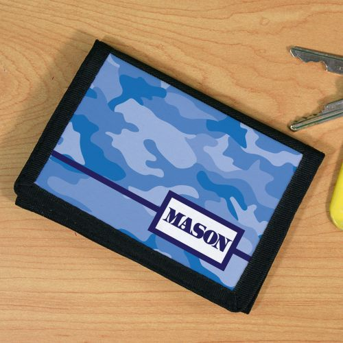 Personalized Blue Camo Velcro Wallet U67471