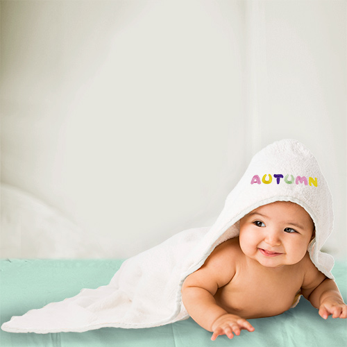 Embroidered Pastel Name Hooded Baby Towel