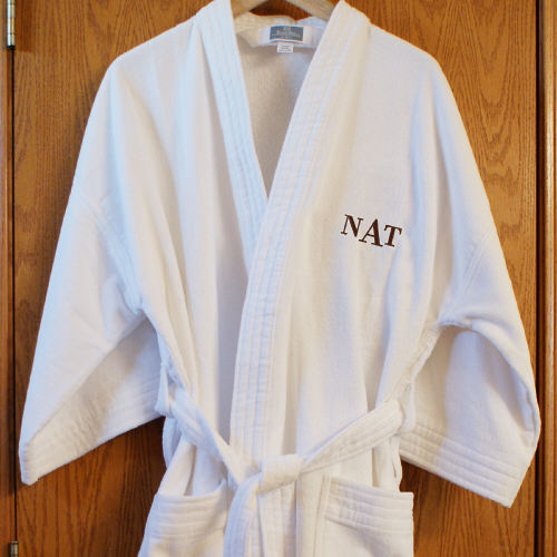 Embroidered Initial Robe E364113