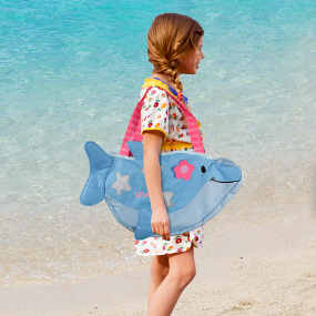 Embroidered Dolphin Beach Tote with Toys E758596