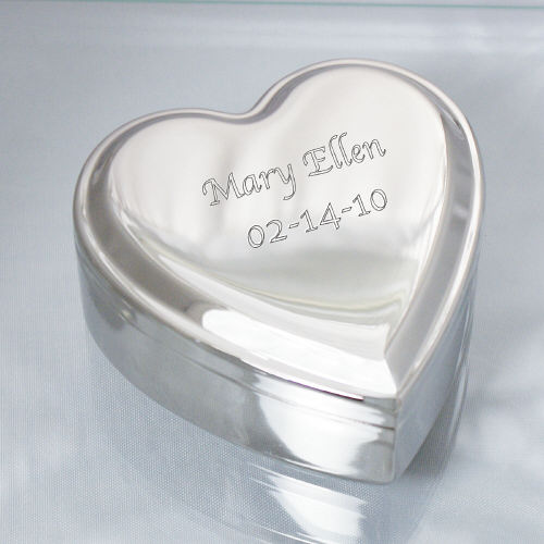 Engraved Name Silver Heart Jewelry Box