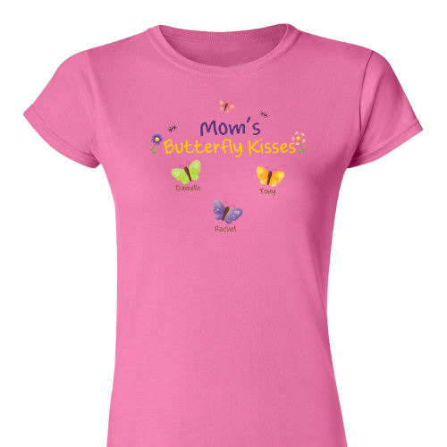 Mothers Personalized Butterfly Kisses Fitted T-Shirt | Shirts For Mom