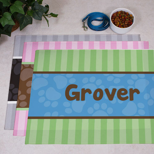 Personalized Modern Stripes Dog Food Mat 83166047X