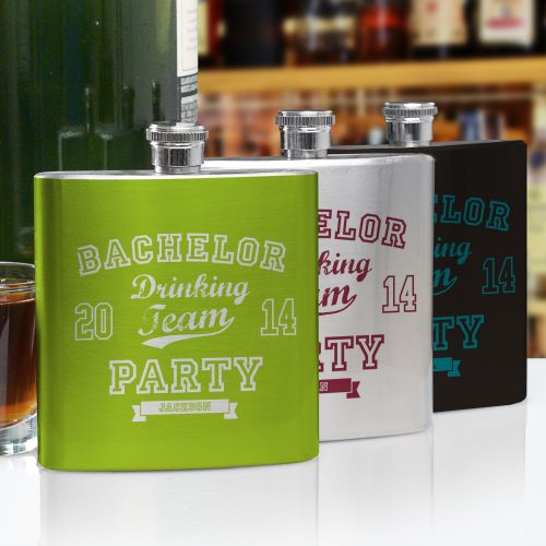 Personalized Bachelor Drinking Team Flask U766976
