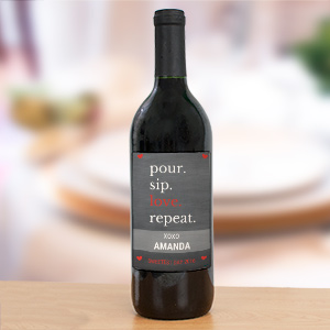 Personalized Pour Sip Love Repeat Wine Bottle Label
