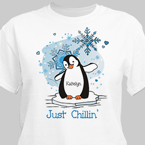Just Chillin' Penguin Personalized T-shirt | Personalized Christmas T-Shirt