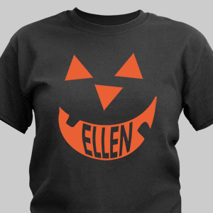Pumpkin Face Halloween Black T-shirt
