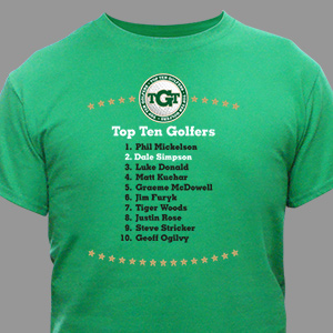 Personalized Top Ten Golf T-Shirt | Personalized T-shirts