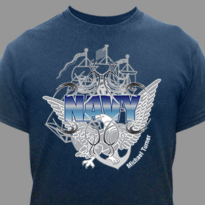 Custom Printed Navy T-Shirt | Personalized T-shirts