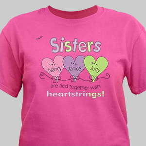 Personalized Heartstrings Sister T-Shirt | Sister Gifts
