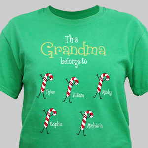 Personalized Belongs To Candy Cane T-Shirt | Personalized Christmas T-Shirt