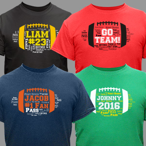 Football Word-Art T-Shirt | Personalized Gifts For Men