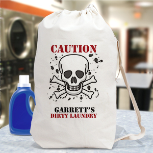 Personalized Caution Laundry Bag