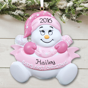 Baby snowman Girl's First Christmas Ornament