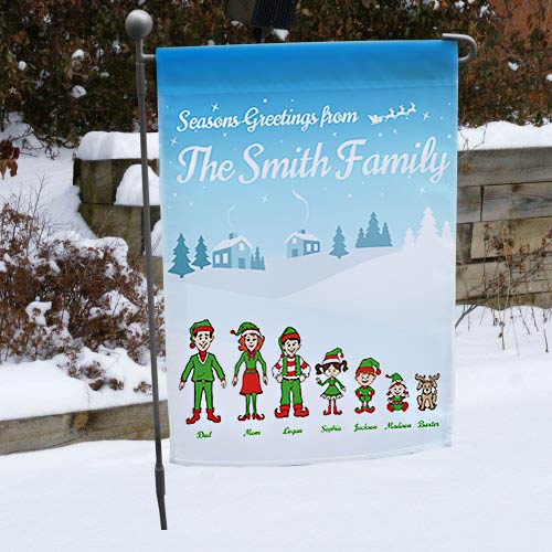 Personalized Holiday Character Garden Flag