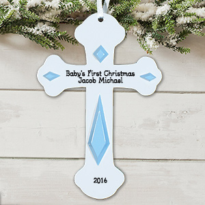 Engraved Baby's First Christmas Cross Ornament