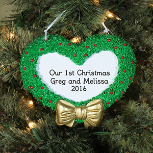 Engraved First Christmas Heart Wreath Ornament 844023