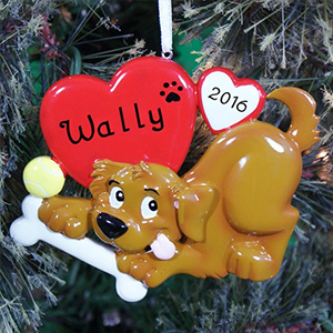 Personalized Dog Ceramic Christmas Ornament