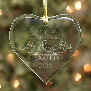 Engraved Newlyweds Glass Heart Ornament