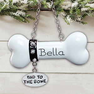Bad to the Bone Personalized Dog Christmas Ornament
