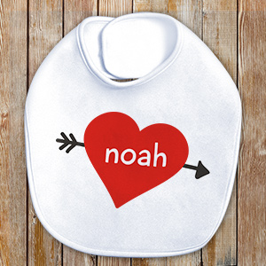 Cupid's Heart Personalized Baby Bib | Personalized Baby Bibs