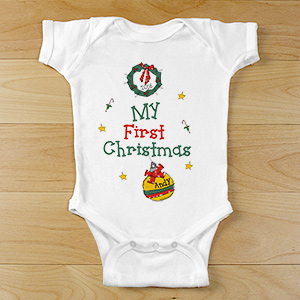 Personalized My First Christmas Baby Bodysuit | Baby's First Christmas Gifts