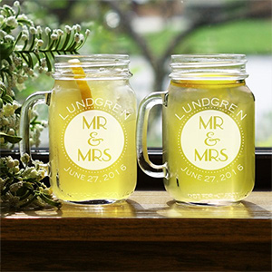 Mr. & Mrs. Engraved Mason Jar Set