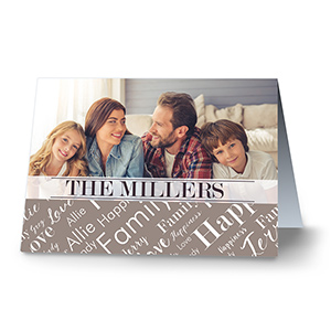 Personalized Family Photo Word-Art Card | Photo Greeting Cards