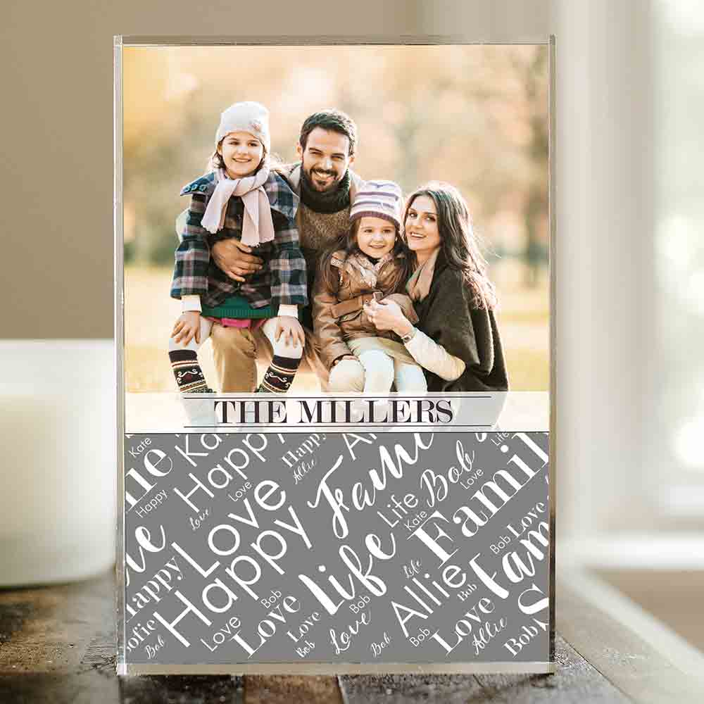 Personalized Family Photo Word-Art Keepsake | Photo Blocks