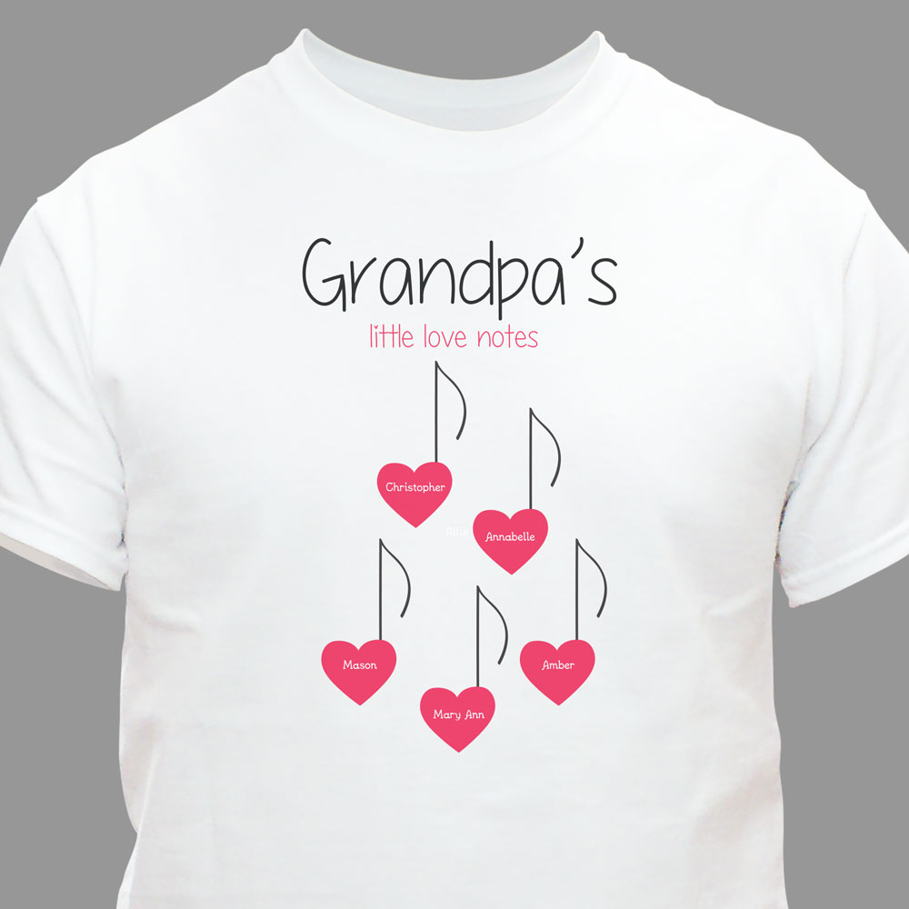 Personalized Grandmas Little Love Notes T-Shirt | Personalized Shirts For Grandma