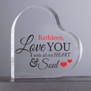 Personalized All My Heart and Soul Acrylic Heart Keepsake | Personalized Valentine's Day Gifts For Her
