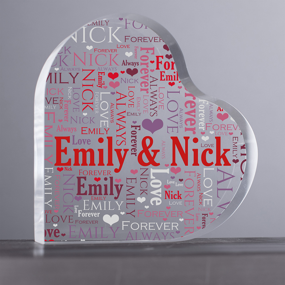 Personalized Loving Couple Word-Art Acrylic Heart Keepsake | Personalized Valentine's Gifts For Her