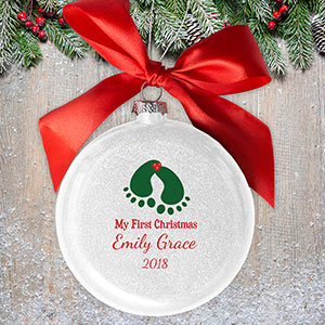Personalized Baby Mistletoe Glass Ornament | Personalized Baby Gifts