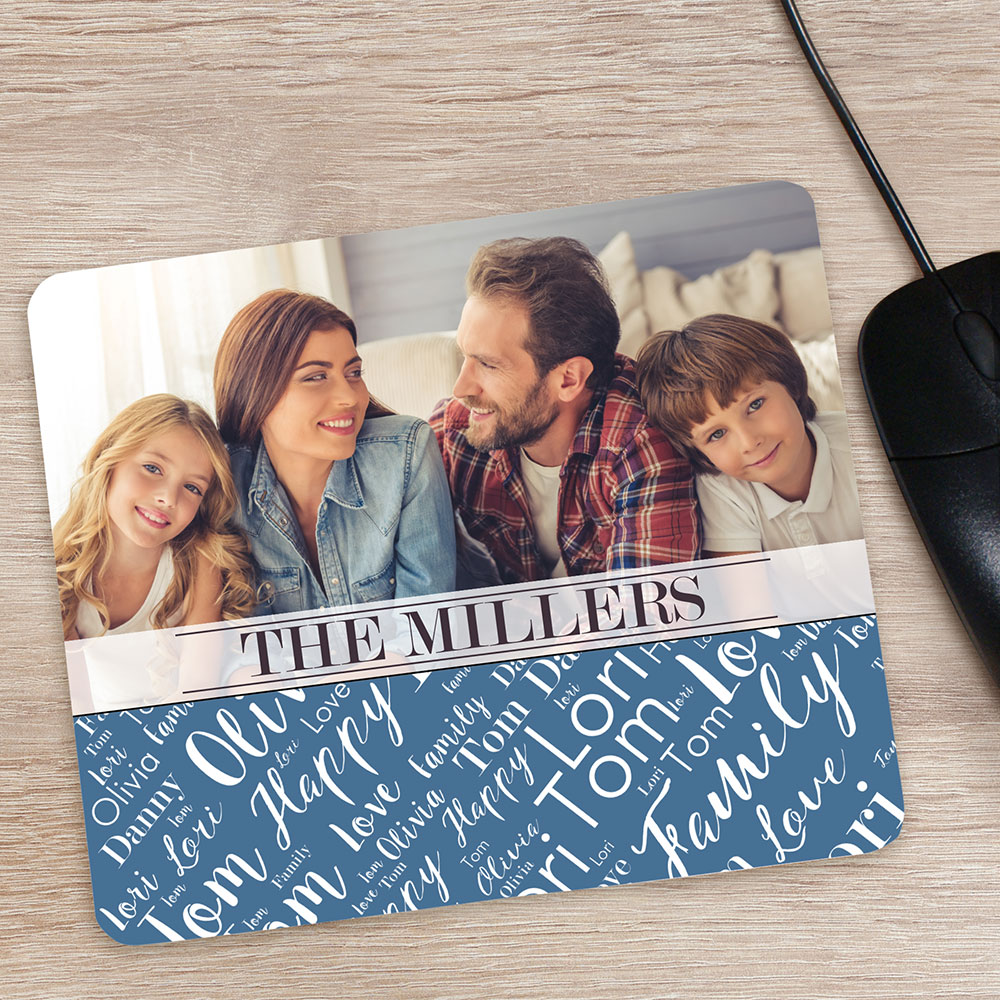 Personalized Family Photo Word-Art Mouse Pad | Personalized Photo Gifts