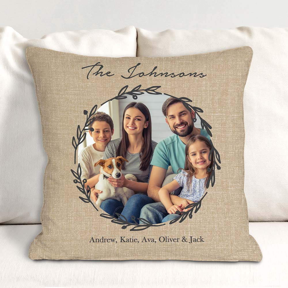 Personalized Photo Wreath Throw Pillow | Romantic Home