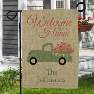 Personalized Welcome To Our Home Burlap Garden Flag | Personalized Valentine Garden Flags