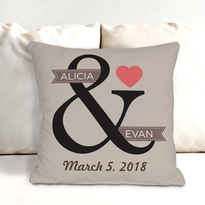 Personalized Heart Couples Throw Pillow | Personalized Valentines Throw Pillows