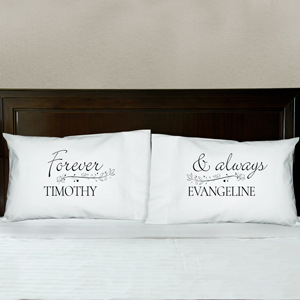 Personalized Forever and Always Couples Pillowcase Set | Personalized Pillow Cases For Valentines