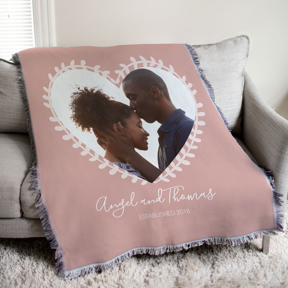 Personalized Gifts For Girlfriend | Personalized Photo Vine Heart Tapestry Throw