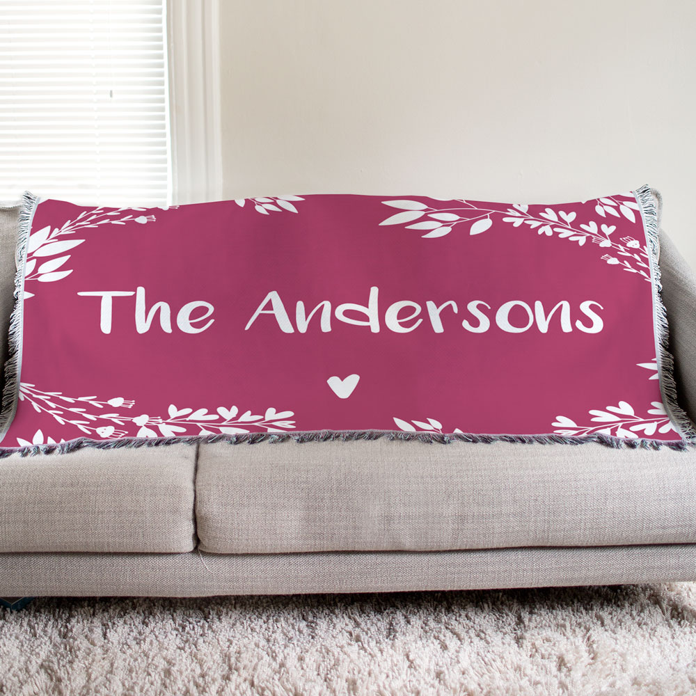 Personalized Family Name Floral Tapestry Throw | Personalized Home Decor