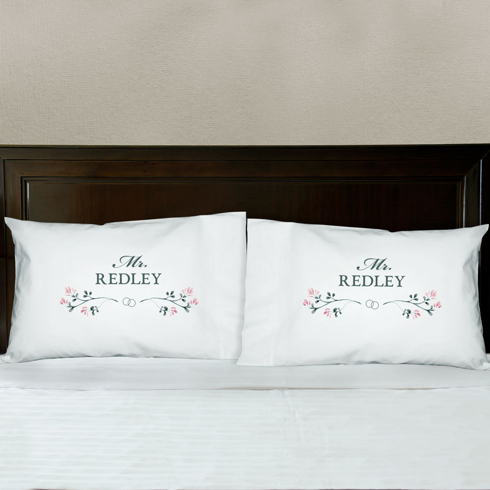 Personalized Mr and Mrs With Flowers Pillowcase Set | Personalized Wedding Gifts for Couples