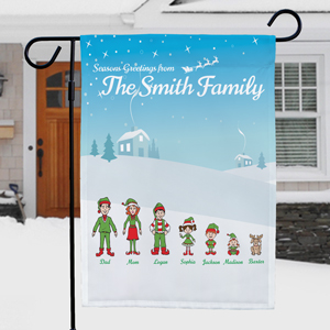 Personalized Holiday Character Garden Flag | Personalized Christmas Flags