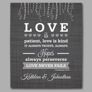 Personalized Love is Patient Wedding Canvas