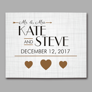 Personalized Golden Hearts Wedding Canvas